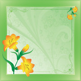 scope with lilies on green poster