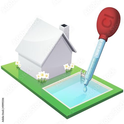 Maison blanche et sa piscine chloré (détouré)