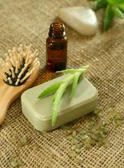 Soap, aloe vera and a bottle with oil aloe vera