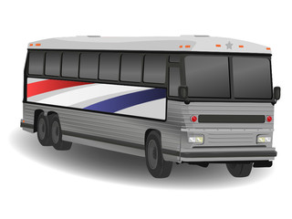 American Greyhound Bus Illustration on White