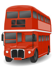 Red London Routemaster Bus Illustration on White