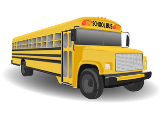 Traditional American School Bus Illustration on White