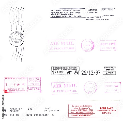 europe: postmark,postage stamps background