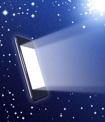 teléfono táctil en el Universo