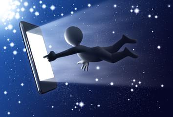 Personaje 3D con teléfono táctil, en el Universo