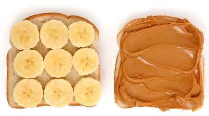 Open Peanut Butter and Banana Sandwich