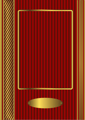 Vintage photo album red and golden cover (vector)