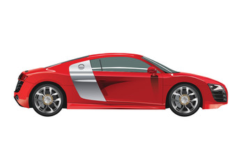 Vector modern car red color isolated