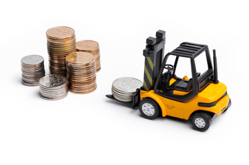 Yellow toy forklift and money
