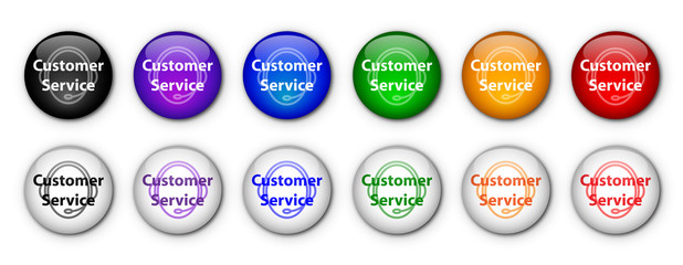 """Customer Service"" Buttons (rainbow colours)"