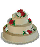 Flowered wedding cake