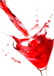 Red drink in white background