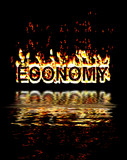 Economy in recession flames poster