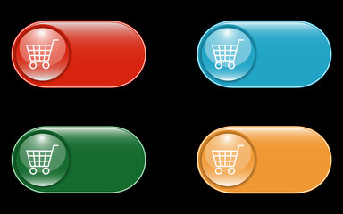 Glossy Shopping Cart Buttons with space for text