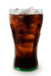 Leinwandbild Motiv Glass of cola with ice isolated on white with clipping path