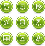 Database web icons, green glossy circle buttons series poster