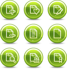 Document web icons, green glossy circle buttons series set 2