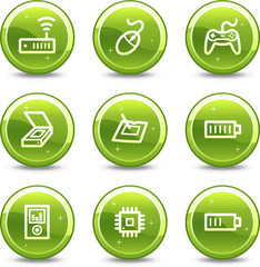 Electronics web icons, green glossy circle buttons series set 2