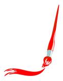 Paintbrush Artistic Stroke Red poster