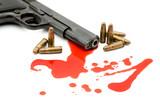 murder concept - gun and blood poster
