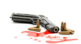 murder concept - gun and blood