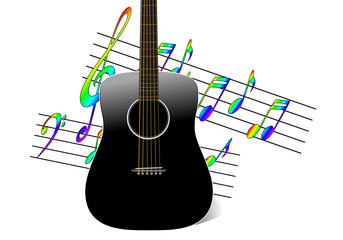 Black acoustic guitar with musical notes background
