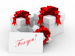 White gift boxs with a card. 3D image