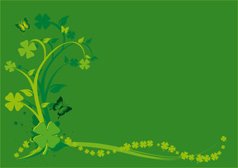 St. Patrick's Day Floral Background with swirls