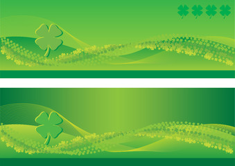 St. Patrick's Day Banners with blend lines and four leaf clovers