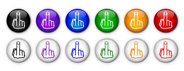 Impolite Buttons (rainbow colours)