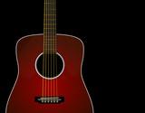 Red sunburst acoustic guitar -Realistic poster