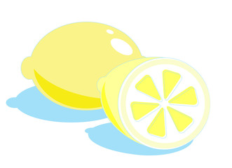 Fresh lemons  isolated an a white background
