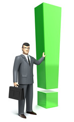 Exclamation mark and  businessman