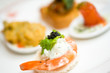 appetizer of shrimp with caviar