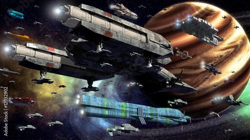 Leinwandbild Motiv space fleet