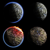 Iron planets collection. Exellent material for your cosmos art poster