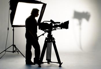 Studio light on location for movie scene.