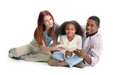 Interracial Family Reading Together poster