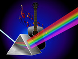 Prism rainbow with acoustic guitar - Realistic poster