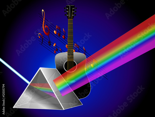 Prism rainbow with acoustic guitar - Realistic