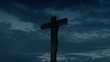 Crucifix with clouds background