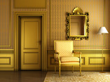 classic palace interior with armchair mirror and golden molding poster