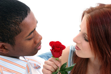 Interracial Couple with Rose