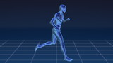 The blue silhouette of the human body running