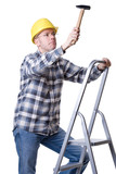 Craftsman on a ladder with a hammer poster