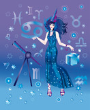 Girl-astrologer with sign of zodiac character Cancer poster