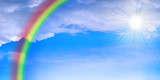 abstract glow rainbow on background of the celestial landscape poster