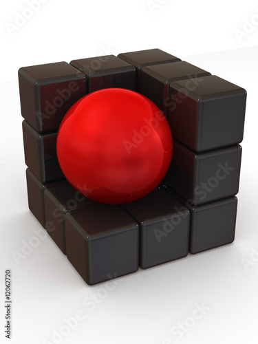Boxes and sphere. Abstract image