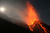 Night eruption on top of Volcano Stromboli