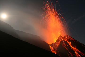 Night eruption on top of Volcano Stromboli